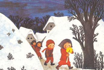 Slovenski motiv na Unicefovi voščilnici za leto 1974, delo akademske slikarke Marjance Jemec Božič (Vir: Društvo za Združene narode za Slovenijo)