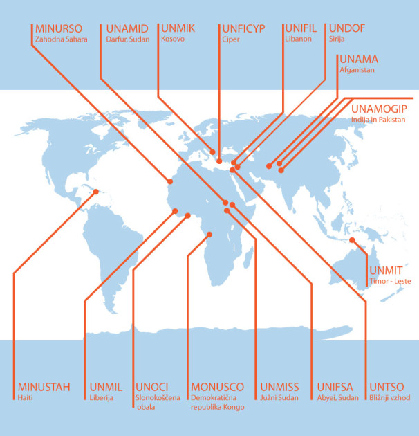 Zemljevid mirovnih operacij OZN (Vir: prirejeno po podatkih OZN)